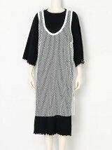 MESH LAYERED RIBBED JERSEY DRESS