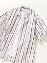 SHIPS any SHIPSany:ワイドストライプオープンカラー半袖シャツ シップス シャツ/ブラウス 半袖シャツ ホワイト ブラ…