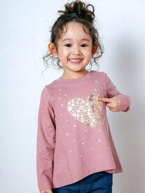SLAP SLIP 花 ハート プリント 長袖 Tシャツ (80~130cm) ベベ オンライン ストア カットソー Tシャツ ピンク グレー