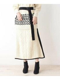 【SALE/30%OFF】grove MIXパターンAラインニットスカート グローブ スカート ロングスカート ホワイト グリーン【送料無料】