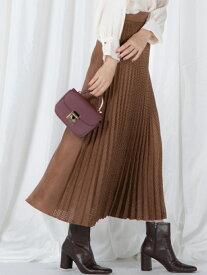 VICKY パンチングスェードスカート ビッキー スカート ロングスカート ブラウン ホワイト ベージュ【送料無料】