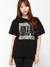 【BROWNY】(L)レースロゴプリントTシャツ
