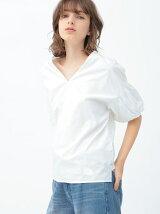 バルーン袖綿ブラウス