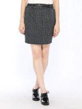ベルト付チェックタイトスカート