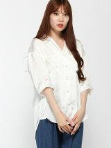 【BROWNY STANDARD】(L)サテン5分袖開襟シャツ