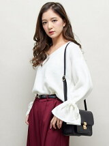 S・A/N/PU袖フレアーリボン/ニット