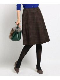 INDIVI [L]【マシンウォッシュ】マルチタータンAラインスカート インディヴィ スカート【送料無料】
