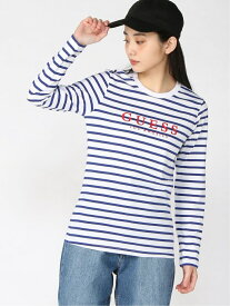 【SALE/50%OFF】GUESS (W)LOGO BORDER L/S TEE ゲス カットソー Tシャツ ネイビー レッド