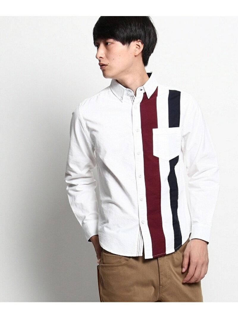 THE SHOP TK(Men) 縦切り替えボタンダウンシャツ ザ ショップ ティーケー【送料無料】