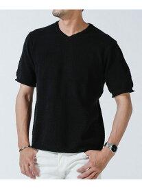 【SALE/60%OFF】nano・universe <WEB限定>リンクス柄切替Vネックニット 半袖 ナノユニバース カットソー Tシャツ ブラック ベージュ ブルー