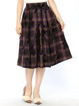 タータンチェックフロッキープリントスカート
