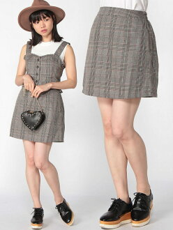 BROWNY BROWNY/(L) check trapezoid miniskirt we go skirt