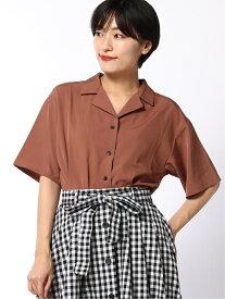 WEGO (L)オープンカラークロップドシャツ(S) ウィゴー シャツ/ブラウス 半袖シャツ グリーン ピンク ベージュ ホワイト ブラック レッド ブラウン