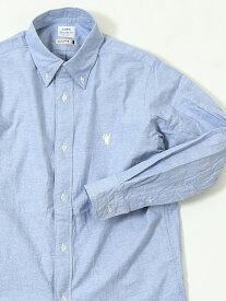coen オックスフォードボタンダウンシャツ コーエン シャツ/ブラウス 長袖シャツ ネイビー ホワイト