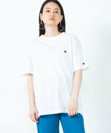 WEGO (M)チャンピオン刺繍Tシャツ(S) ウィゴー カットソー Tシャツ グリーン イエロー オレンジ ブルー ネイビー ブラック ブラウン ホワイト ベージュ レッド グレー