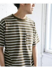 【SALE/40%OFF】DOORS ウルティマサンドイッチボーダーTシャツ アーバンリサーチドアーズ カットソー Tシャツ ベージュ ブルー