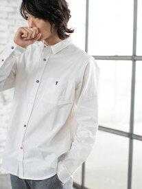 【SALE/20%OFF】coen オックスフォードクレイジーボタンレギュラーカラーシャツ コーエン シャツ/ブラウス 長袖シャツ ホワイト グレー