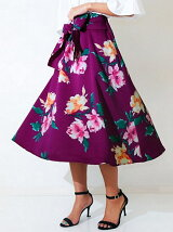 CHILLE花柄ウエストリボンスカート