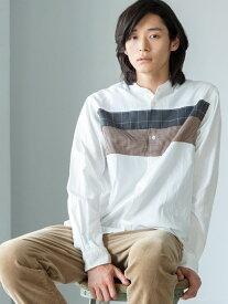 【SALE/20%OFF】coen チェストパッチワークバンドカラーシャツ コーエン シャツ/ブラウス 長袖シャツ ホワイト グレー