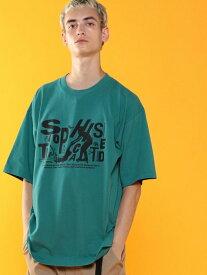 【SALE/55%OFF】coen ビッグシルエットプリントTシャツ(UTILITYLINE) コーエン カットソー Tシャツ ブルー ホワイト