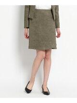 [L]スエード調切り替えタイトスカート