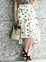 ラウンドヘム花柄スカート