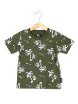 ヤシの木プリント総柄半袖Tシャツ