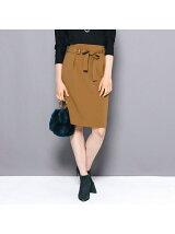 ≪大きいサイズ≫マットスエードベルト付きタイトスカート