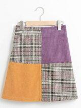 チェック×パッチワークAラインスカート