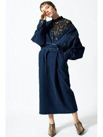 【SALE/50%OFF】OSMOSIS ハイウエストデニムペンシルスカート オズモーシス スカート ロングスカート ブルー【送料無料】