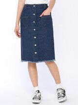 前ボタンミディタイトスカート