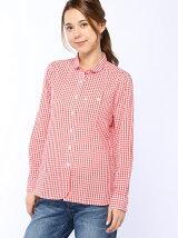 (W)ギンガムチェックチュニックシャツ