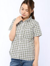 (W)コットンチェックシャツ半袖