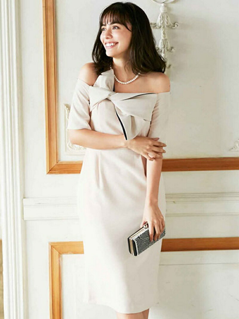【SALE/36%OFF】Dress Lab Dress Lab/リボンオフショルダーワンピース クリーム ワンピース【RBA_S】【RBA_E】【送料無料】