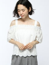 S・綿レース肩開きオフショル/TOPS
