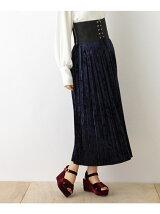 クラッシュベロアプリーツマキシスカート