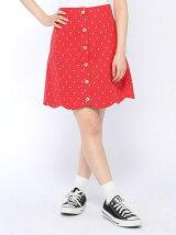 小紋柄スカラップ台形スカート