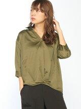 【BROWNY STANDARD】(L)裾タックサテンスキッパーシャツ