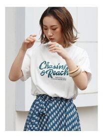 Ungrid ChasingロゴTee アングリッド カットソー Tシャツ ホワイト ネイビー ブラウン【送料無料】