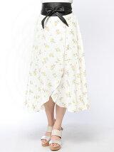 サッシュベルト付花柄イレギュラースカート