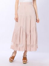 pin tuck detail long skirt