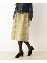 haupia 綿麻フラワー刺しゅうスカート