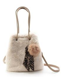grove 【WEB限定カラーあり】2WAYエコファー巾着トートバッグ グローブ バッグ トートバッグ ホワイト グレー ベージュ ブラウン ピンク