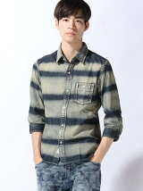 TETE HOMME/(M)ボーダーワークシャツ