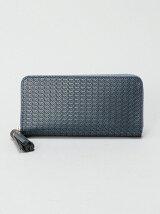 (L)ペルケ/パールメタリックレザー型押しラウンド長財布