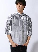 ストライプ切り替え七分袖シャツ