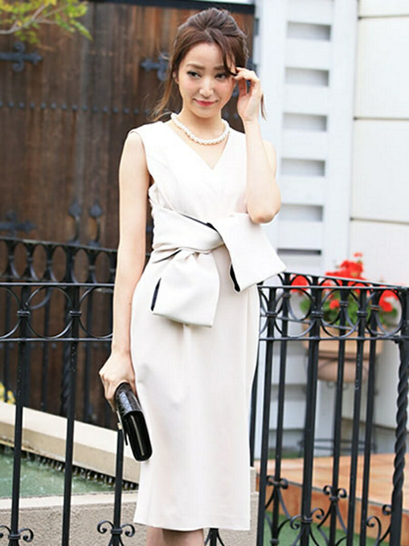 【SALE/46%OFF】Dress Lab Dress Lab/リボンソフトドレス クリーム ワンピース【RBA_S】【RBA_E】【送料無料】