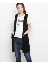 刺しゅうTシャツ+ロング丈ニットジレ