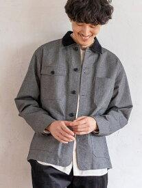 【SALE/55%OFF】coen ヘリンボーンネップジャケット コーエン コート/ジャケット カバーオール グレー ネイビー
