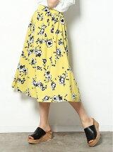 【sweet 5月号掲載】ぼかしフラワーミディ丈ギャザースカート